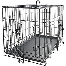 OxGord Jaula plegable para perros con puertas dobles plegables 61 x 44 x 49 cm 30 pulgadas Negro