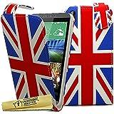 Accesorio Maestro Los carcasas de cuero de la PU con el protector de pantalla y soporte para el lápiz para HTC Desire 816, leopardo blanco temático / bandera de la Unión Jack británica, d816, protector de cuero