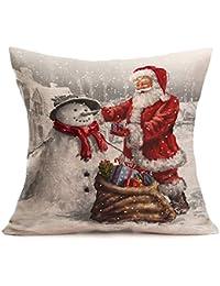 Fundas Cojines de Navidad, Patrón de Papá Noel Funda de Cojines 45x45 Navidad Decoracion para