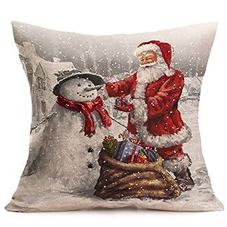 Fundas Cojines de Navidad, Patrón de Papá Noel Funda de Cojines 45×45 Navidad Decoracion para Hogar Casa Sofa Jardin Cama