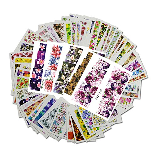 NAIL WRAPS - Water Transfer Nail Art Sticker - Full Cover FLOWER Designs - bunter Blumen Mix - CUTE NAILS