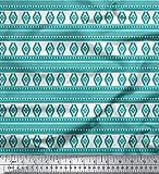 Soimoi Grun Baumwolle Ente Stoff aztekisch geometrisch