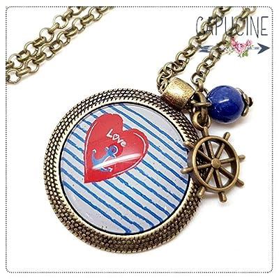 Sautoir Illustré Rayé avec Coeur et Ancre Marine Bleu, Blanc, Rouge en Métal Bronze avec Cabochon en Verre, Breloque et Perle en Jade
