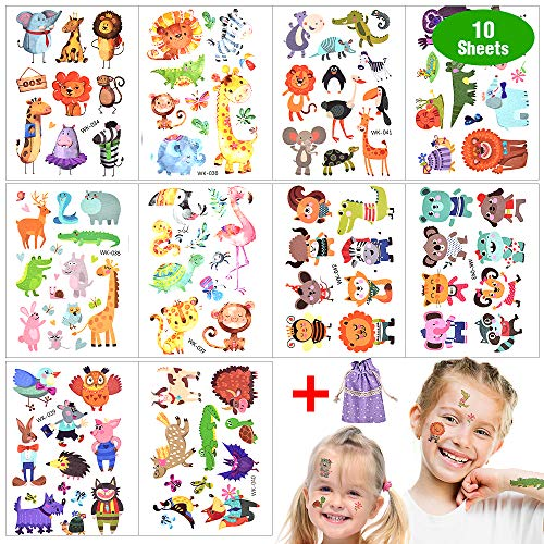 Tattoo Kinder,Tier Glitzer Temporäre Tattoos Set Wasserdicht Klebe Kindertattoos Aufkleber Schablonen für Mädchen Jungen Festival Mitgebsel Kindergeburtstag Gastgeschenke Taschen Füller [10 Blätter]
