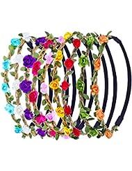 eBoot 9 Pièces Multicolor Fleur Bandeau Femmes Fille Mode Floral Couronne Guirlande Serre-têtes avec Ruban Élastique