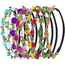 eBoot 9 Piezas Diadema de Flores de Multicolor Corona de Pelo con Cinta Elástica Ajustable