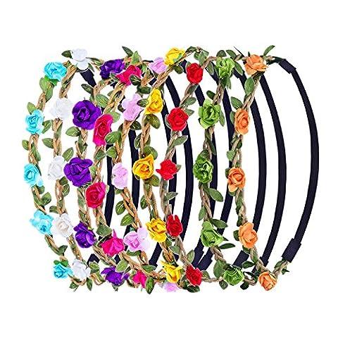 9 Stück Mehrfarbig Blume Stirnbänder Krone mit Verstellbar Elastisch Band
