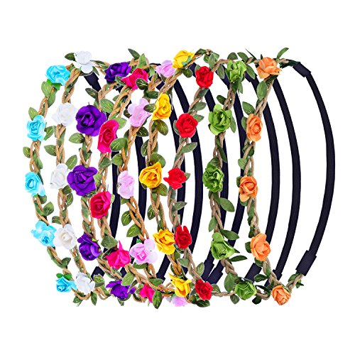 eboot-9-pieces-multicolor-flower-headband-women-girl-fashion-floral-crown-garland-headbands-with-ela