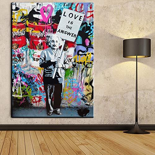 Orlco Art Graffiti Art Leinwand Banksy Graffiti Gemälde Einstein Art Prints Street Urben Gemälde Kunst bunt, Einstein, 40