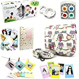 CLOVER 7 in 1 Accessory Bundles Set For Fujifilm Instax Mini 8 Instant Camera (White Owl Case Bag/ Album/ Colorful Filter/ Close-Up Lens / Wall Hanging Frame/ Photo Frame/ Sticker Borders)