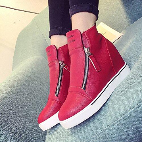 Damen Stiefelen Reißverschluss Pastryschuhe Moderne Lässige Herbst Martinstiefeln Rot