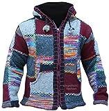 Shopoholic Fashion superwarm Fest bunt Flicken Nepalesisch Wolle Jacke mit Kapuze, Hippy Boho - Rot Mischung, Large