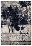 Teppich Puerto Webteppich Designteppich Kurzfloorteppich Musterteppich – geeignet für den Wohnbereich – Polypropylen-schadstofffrei – 160 x 230 cm, Blau-creme