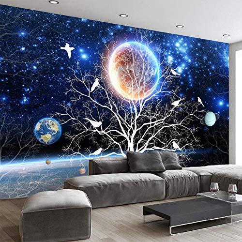 �gliche Wandgröße 3D Sternenklarer Baum-Blumen-Wand-Anstrich-Modernes Wohnzimmer-Sofa-Ausgangsdekor-Foto-Silk Tuch Tapete 368X254Cm Besonders An ()