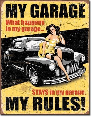 Blechschild My Garage My Rules 32x41 cm Made in USA tin sign enseignes en metál Metallschild Retro Werbung Blechschilder