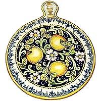 CERAMICHE D'ARTE PARRINI- Ceramica italiana artistica , sottopentola decorazione limoni , dipinto a mano , made in ITALY Toscana