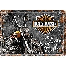 'Nostalgic Art–Harley Davidson motocicletas–My Favourite Ride–Placa metálica postal