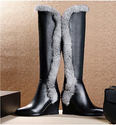 Dayiss Damen Langschaftstiefel mit Kleiabsatz Overknee Stiefel Pelz warm gefütterte Stiefeletten Schlupfstiefel Winterboots Schwarz