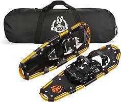 ENKEEO Racchetta da Neve Regolabile Compatto Portatile, Lega in Alluminio, 53-76cm, Nero e Arancione