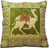 Grün Indische Seide Deko Kissenbezüge 40 cm x 40 cm, Extravaganten Kamel Design für Sofa & Bett Dekokissen, Kissenhülle aus Indien. Angebot gültig bis zum Ende des Monats
