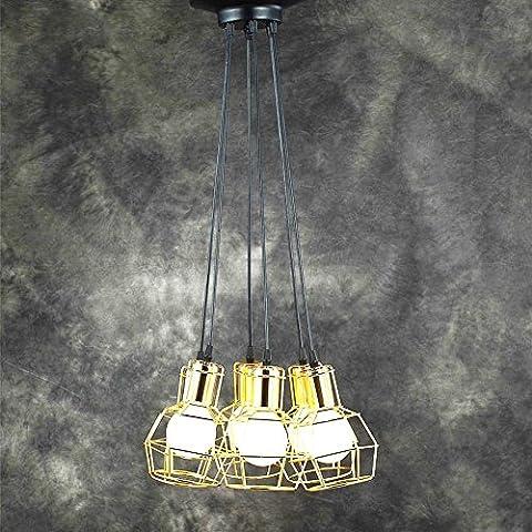 BJVB Creativa base dorado pájaro jaula colgante LED luz de la lámpara de jaula de disco cabeza 6
