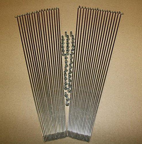 38 Stk.Edelstahl Nirosta Speichen 2mm Fahrradspeichen m.Nippel Silber 246-298mm Test