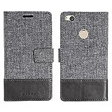 muxma Huawei P8 Lite 2017 Textilgewebe Kunstleder Tasche Schutzhülle Handyhülle Visitenkartenfach und Standfunktion (Grau)