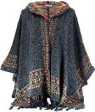 Charleselie94® - Poncho cape capuche laine franges hiver ethnique gris ADONIS GRIS - 40