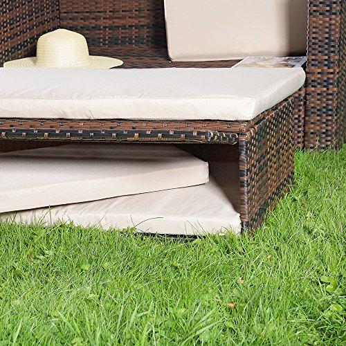 Gartenmöbel Lounge Sofa mit klappbarer Bank / Tisch in braun aus Polyrattan - 5