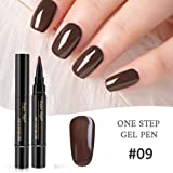 One Step Gel Pen, Mogoi 3en 1Brosse à ongles Vernis à ongles gel Pen, sans base top coat besoin, Soak Off UV LED Vernis à ongles nail art Kit
