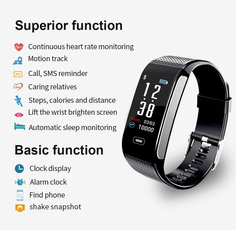 Hunterace Reloj Inteligente Hombre o Mujer, con Monitor de frecuencia cardíaca, con Contador de Pasos, multifunción, Resistente al Agua, Pulsera Inteligente (3 Colores) 9