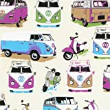 Muriva Camper Van & Moped Scooter Heavy Weight Wallpaper Wallcovering Multi Coloured J05901 by Muriva Ltd