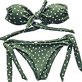 Ba Zha Hei Damen Bikini Teilt Bikini Punkt Drucken Bademode Klassisch Push Up große Größe Bikini set Bademode Dot Pünktchen Bikini Sets mit Rüschen (M, Grün)