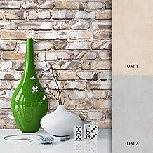 NEWROOM Papel pintado efecto piedra marron papeltapete hermoso diseño moderno 3d mirada, incluyendo papel tapiz guía