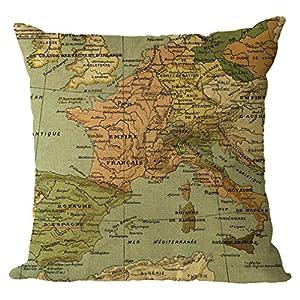 nunubee Mapa del Mundo kisse nbez ¨ ¹ GE y textiles bettw?Sche Niños Cojín Caso 45* 45