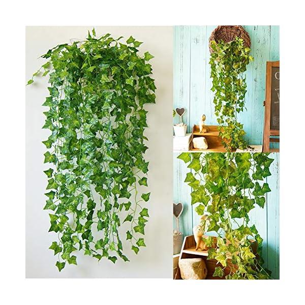 Homvik Plantas Hiedras Enredaderas Artificiales 24Pcsx2.2m Plantas Colgantes Artificiales Guirnalda para Decoración…