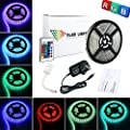 ALED LIGHT® 16.4ft 5M Waterproof 3528 RGB 300 Led Strip Light Full Kit With 24Key IR Remote +2A UK Plug Power Supply For Home and Kitchen Decoration - low-cost UK light shop.