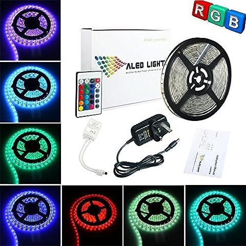 ALED LIGHT® 16.4ft 5M impermeable 3528RGB 300LED Strip Light Kit completo con 24teclas Ir Remote + 2A UK Plug Power Supply para decoración del hogar y cocina