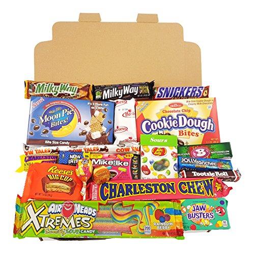 Geschenkkorb mit amerikanischen Süßigkeiten | Retro Schokoriegel und Süßwaren | Auswahl beinhaltet Reeses Cup, Airheads, Jelly Belly Sours | 20 Produkte in einem Retro Süßigkeitenkorb