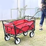 Jardin Charrette à main, Hehilak Rouge Pliable Bricolage Offroad Chariot à main de transport Chariot Charrette à bras Transport Chariots de service...