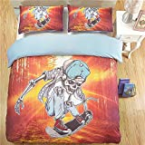 DOTBUY Bettbezug Set, 3 teilig bettwäsche 200 x 200cm 100% Polyester mikrofaser 3D Cartoon Anime gemütlich Printing bettbezug-Set (Orange Skateboard, 200 x 200cm)