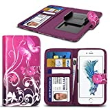 Kazam Tornado 350 HŸlleBrieftaschen-Etui Pouch PU Leather [Purple Butterfly] PRINTED DESIGN HŸlleDesign Spring Clamp [Clip on] Adjustable Book Style Flip Skin HandyhŸlle by i-Tronixs¬