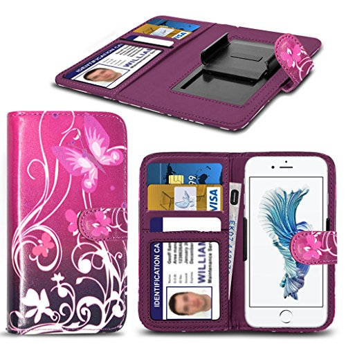 Panasonic Toughpad Fz- F1 HŸlleBrieftaschen-Etui Pouch PU Leather [Purple Butterfly] PRINTED DESIGN HŸlleDesign Spring Clamp [Clip on] Adjustable Book Style Flip Skin HandyhŸlle by i-Tronixs¬