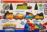Happy Builders Choo Choo - Juego de trenes de dibujos animados, 210 cm, circunferencia de la pista para niños, funciona con pilas, juguete de Navidad