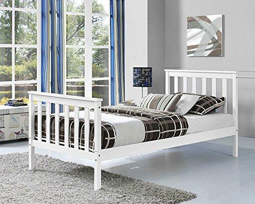 tinkertonk Premium Wooden Bed Frame White Single Size Solid Pine Wood Frame [3FT Single]