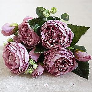 SODIAL Ramo de Flores de peonia de Seda Artificial Hoja Falsa Fiesta de Bodas Decoracion del hogar Rosado