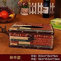 MEICHEN-Vintage tessuto creative box auto moda in pelle scatola Libro di legno stanza vivente casa,la pace - Owl Pace