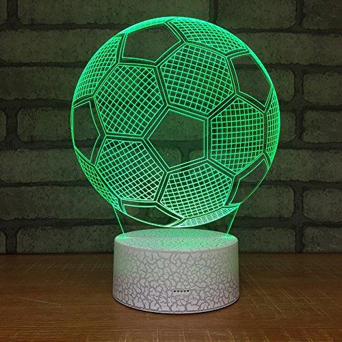weiaikeke Lámpara LED con Estilo 3D Toque Remoto Forma de fútbol Luz Nocturna 3D para fanáticos de los Deportes de fútbol Mejor Regalo 7 Lámpara de iluminación Que Cambia de Color