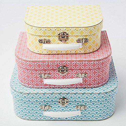 Aufbewahrungsboxen mit marokkanisch-geometrischem Muster von Sass & Belle, Koffer in Blau, Pink und Gelb, 3er-Set