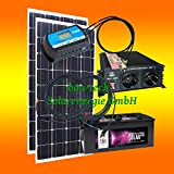 200 Watt Insel Solaranlage für Garten uvm. Komplett SET inklusive Montagematerial für Flachdach